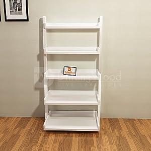 Driftingwood Sheesham Wood 5 Tier Ladder Shelf Bookcase for Living Room |Bookcase Divider | White Finish