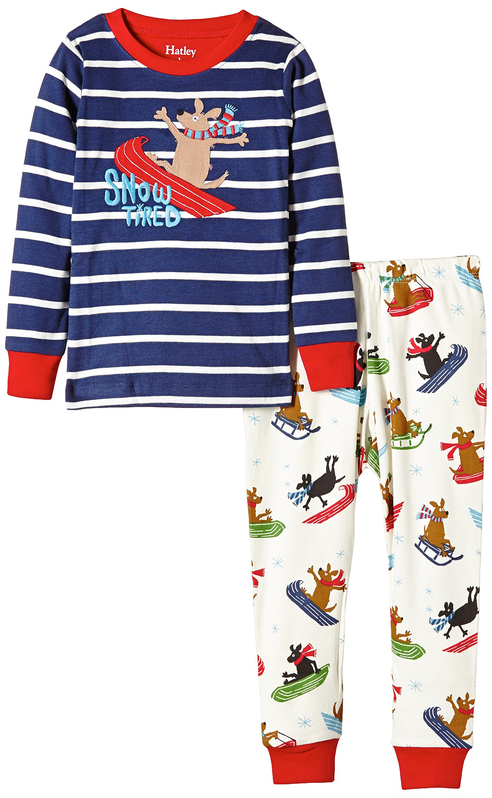 Hatley Little Boys' Pajama Set Applique Sledding Dogs, Blue, 5