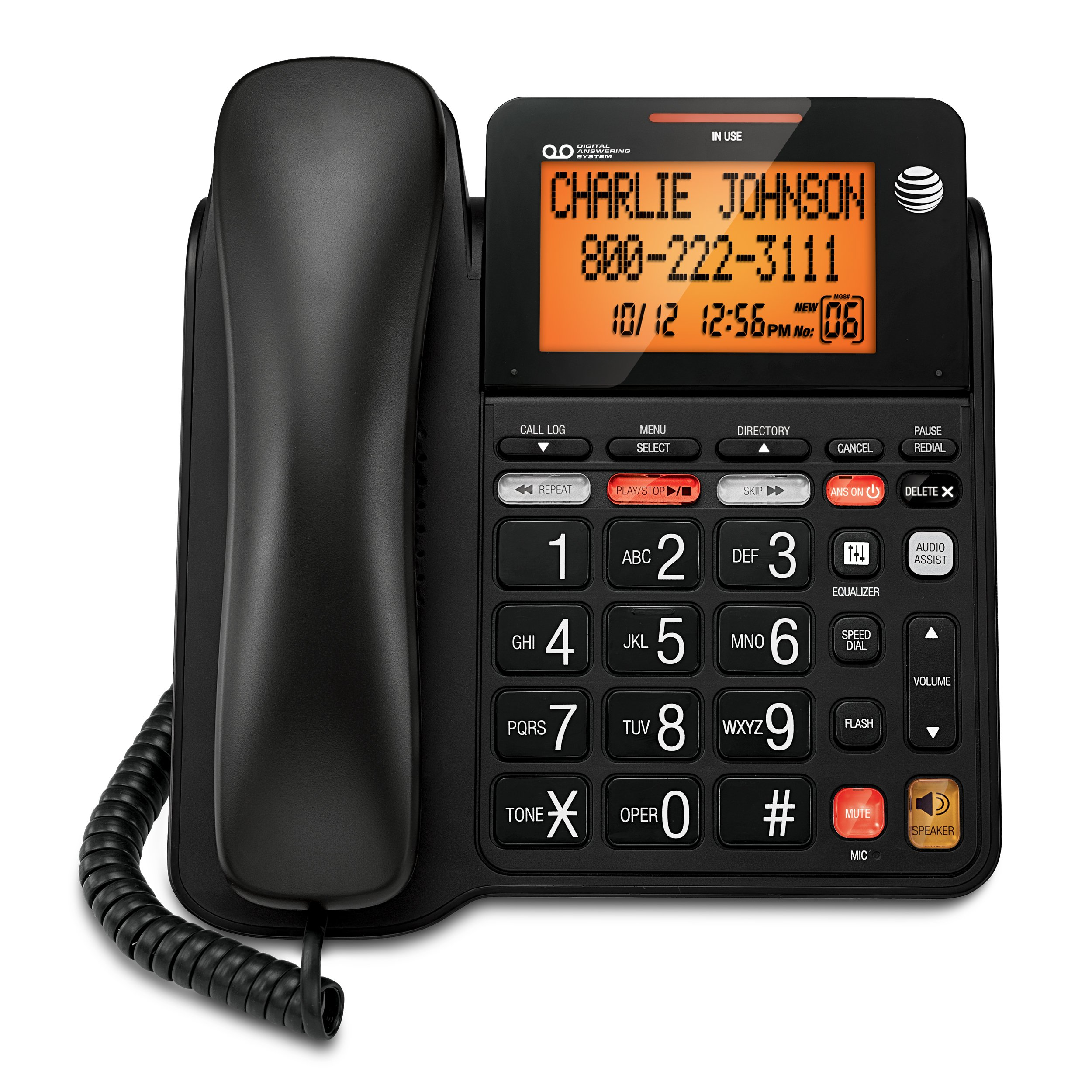 AT&T CD4930 Corded Phone with Answering System and Caller ID, Black