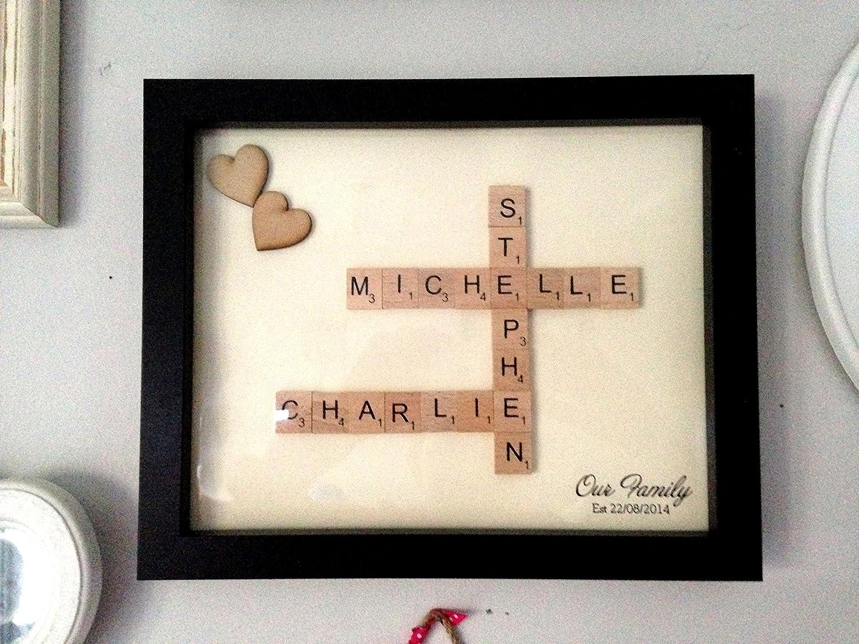 Cuadro personalizado familiar con letras de Scrabble: Amazon.es: Hogar