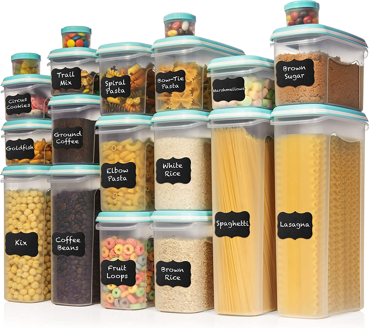 LARGEST Set of 40 Pc Food Storage Containers (20 Container Set) Shazo Airtight Dry Food Space Saver w Interchangeable Lid, Labels + Marker - One Lid Fits All - Reusable