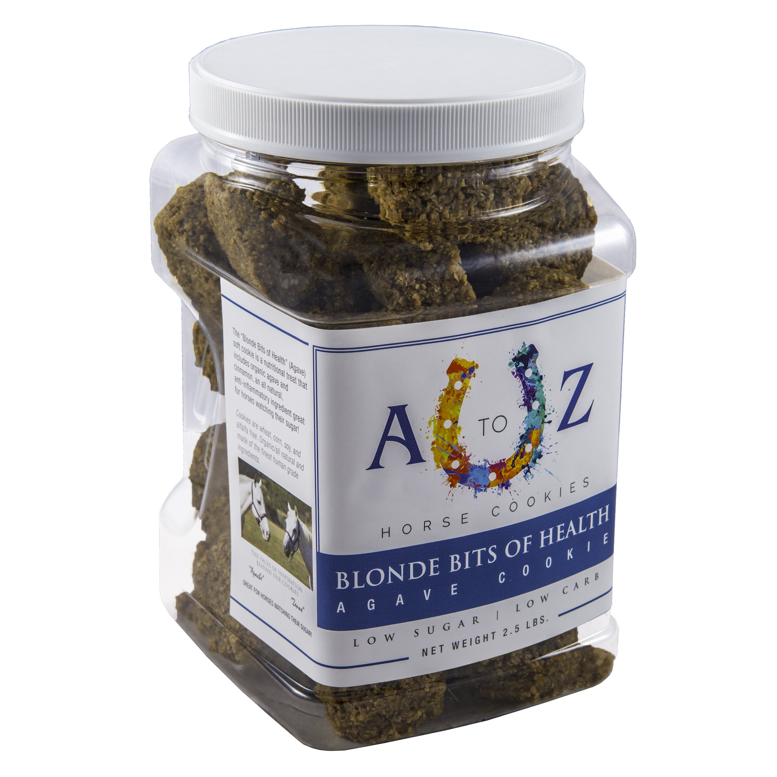 Horse Cookie Treat: Blond Bits of Health Flavor by A - Z Horse Cookies, Low Carb Low Sugar Softer Treats, Organic, Great for All Horses and Excellent for Those with Metabolic Conditions, 2.5 lbs Jar
