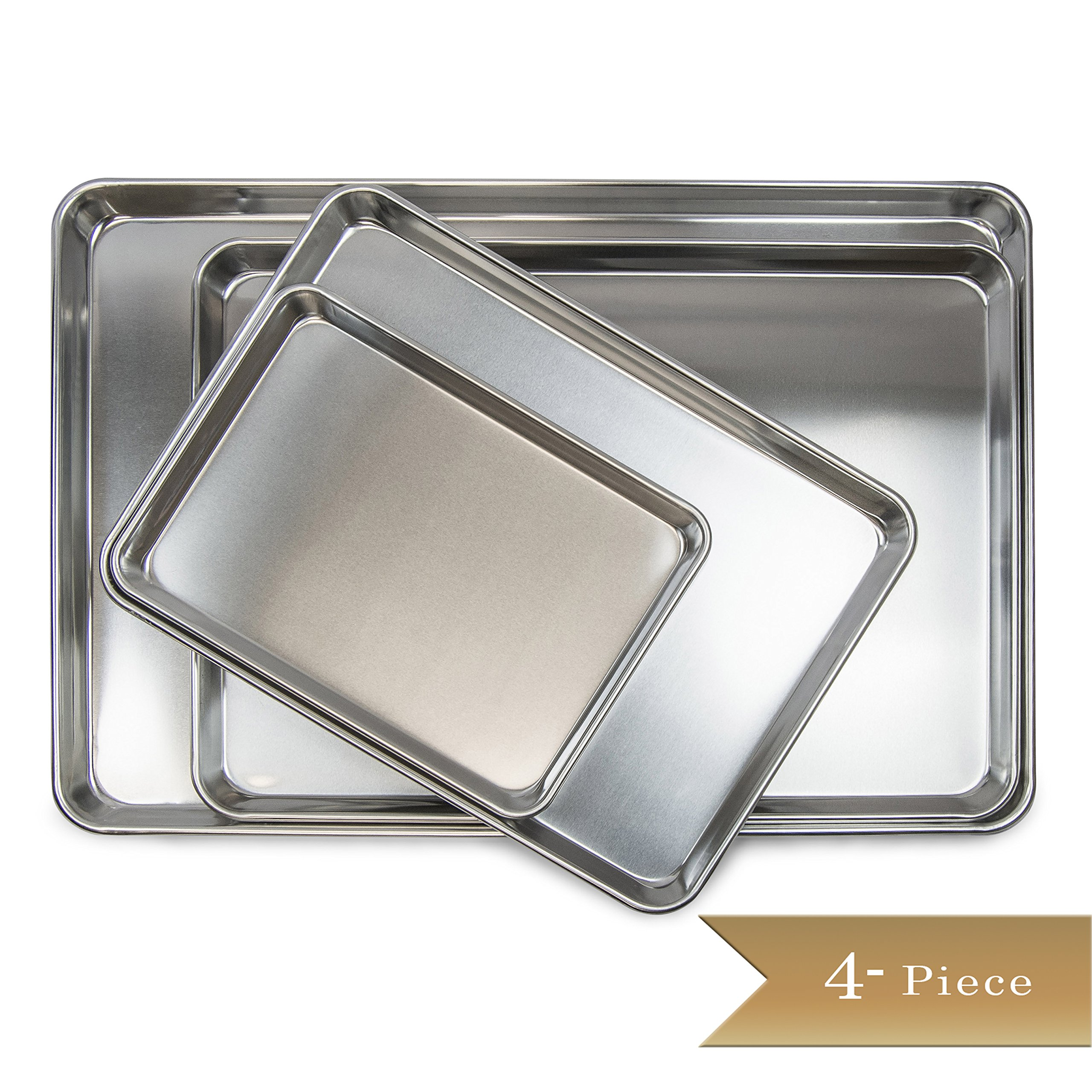 4 Piece - TrueCraftware - Aluminium Baking Tray Set - Baking Sheets in Full, 2/3rds Half, and Quarter Size