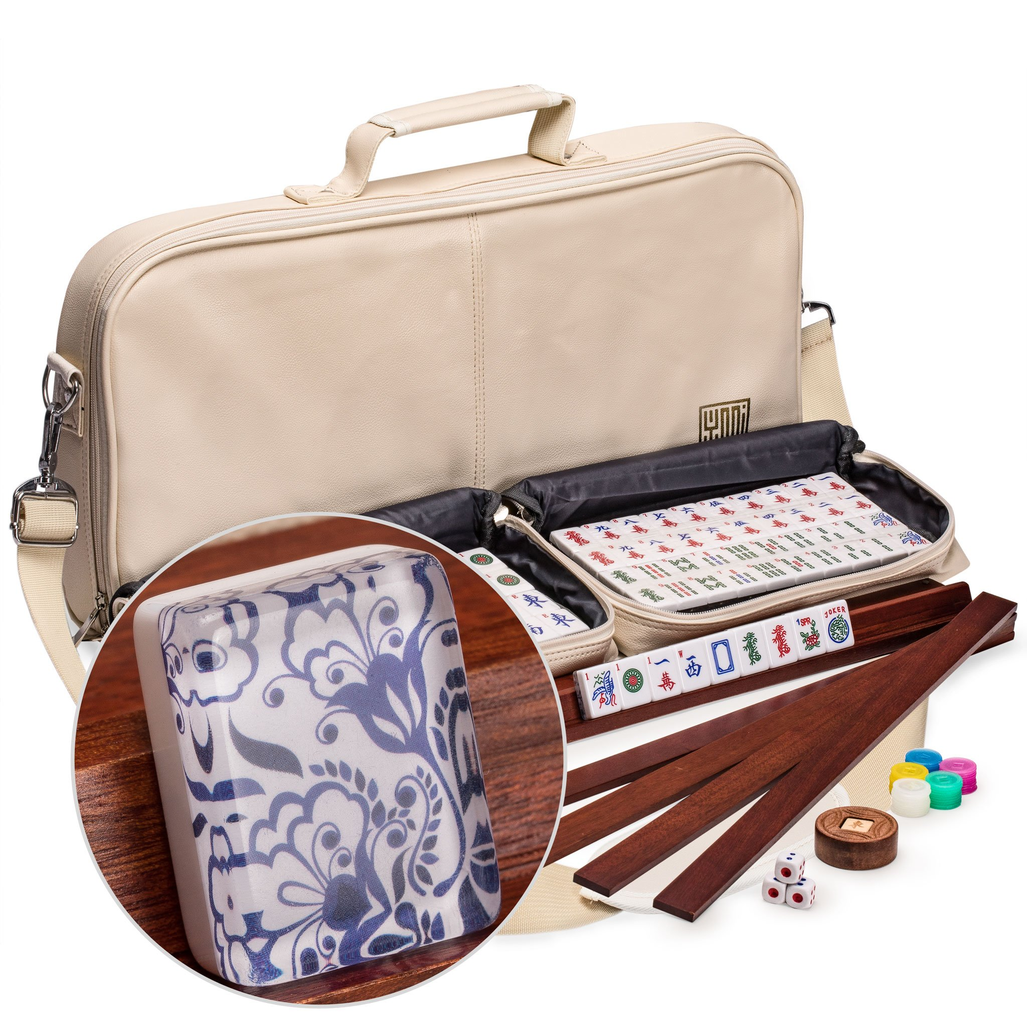 """American Mahjong (Mahjongg, Mah-Jongg) Set withj 166 Tiles, 4 All-in-One Racks with Pushers, Accessories and Soft Leatherette Case, The """"Chinoise"""""""