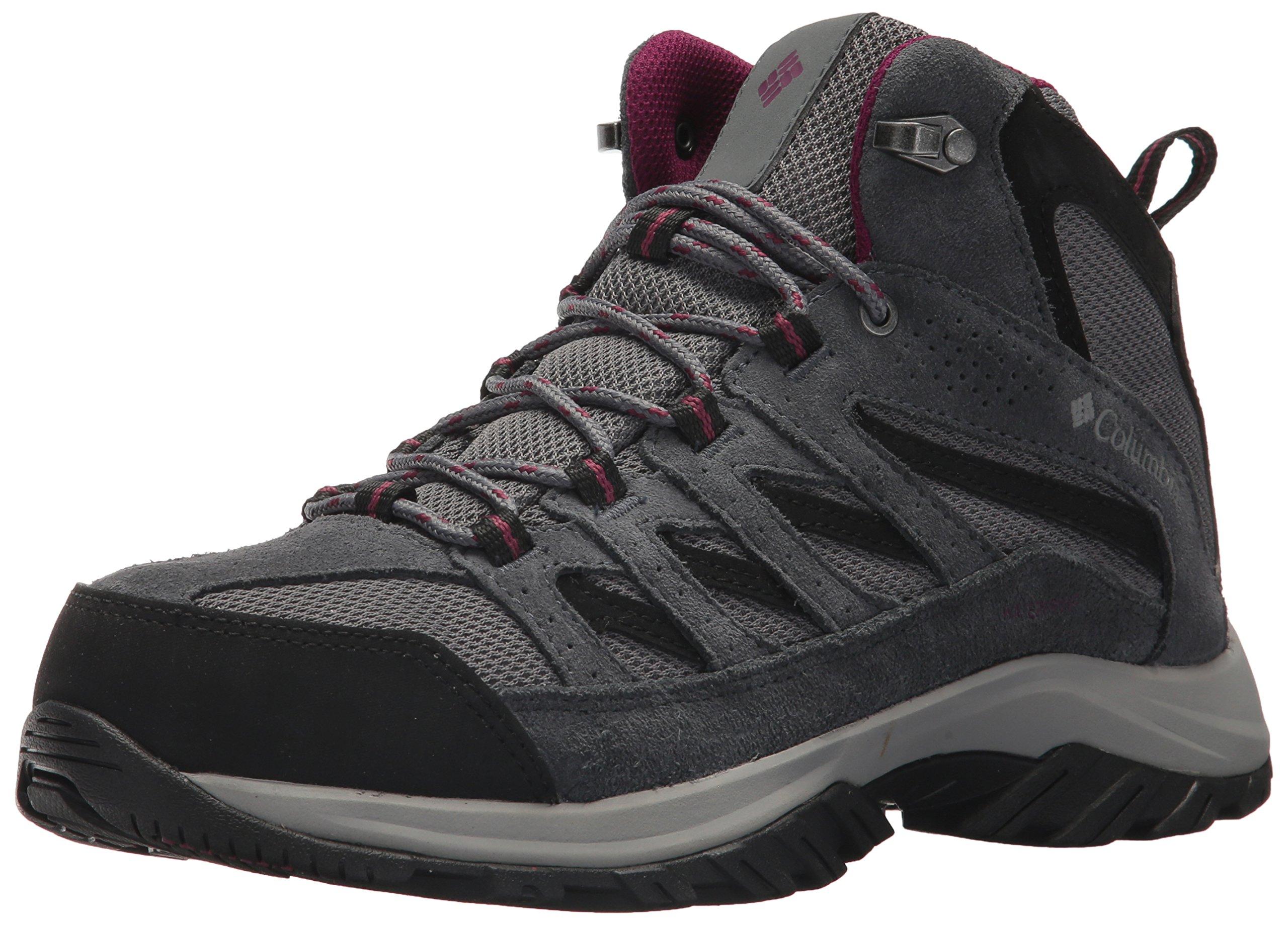 Columbia Women's Crestwood Mid Waterproof Hiking Boot,ti grey steel, dark raspberry,8.5 Regular US by Columbia