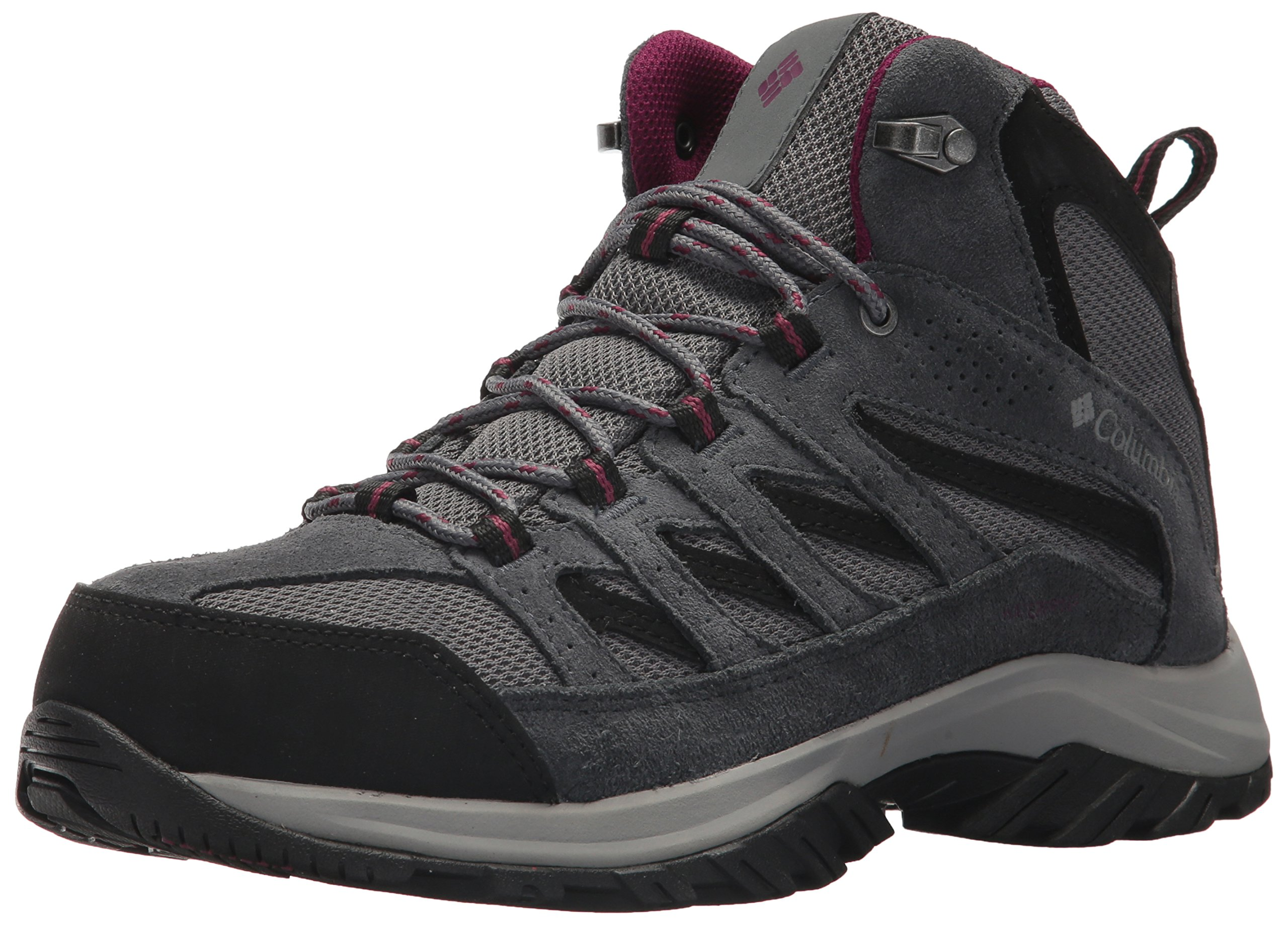 Columbia Women's Crestwood Mid Waterproof Hiking Boot, Ti Grey Steel, Dark Raspberry, 8.5 Regular US