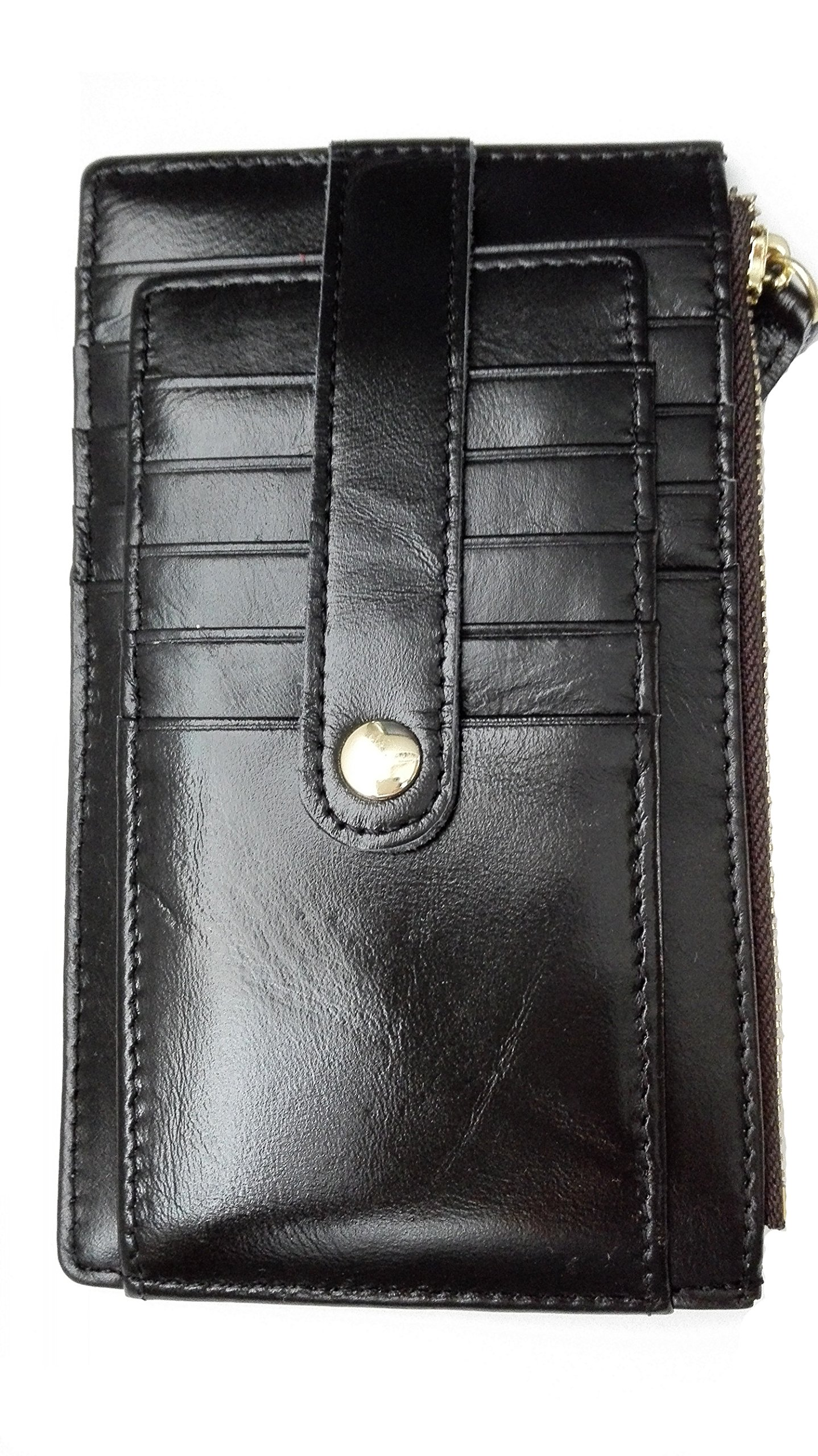 Top Grain Leather Multi 15 Bifold Credit Card Organizer Wallet Bifold with Snap (Black)