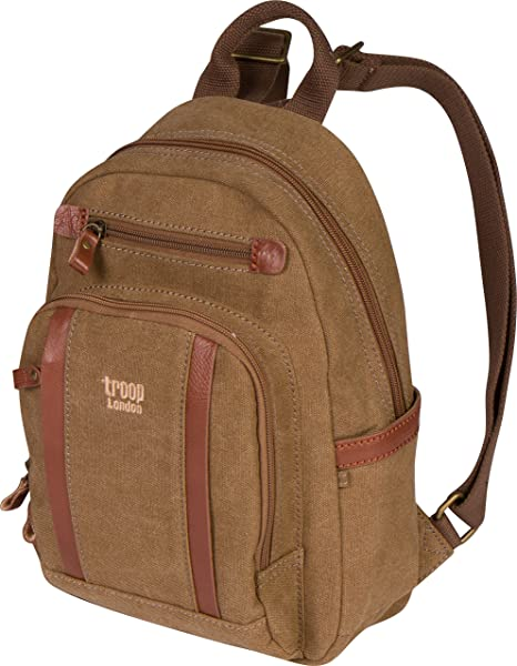 fc691e8d55 Troop London Canvas Backpack Leather Trims With Many Pockets Size Small  TRP0255 (2 - Brown