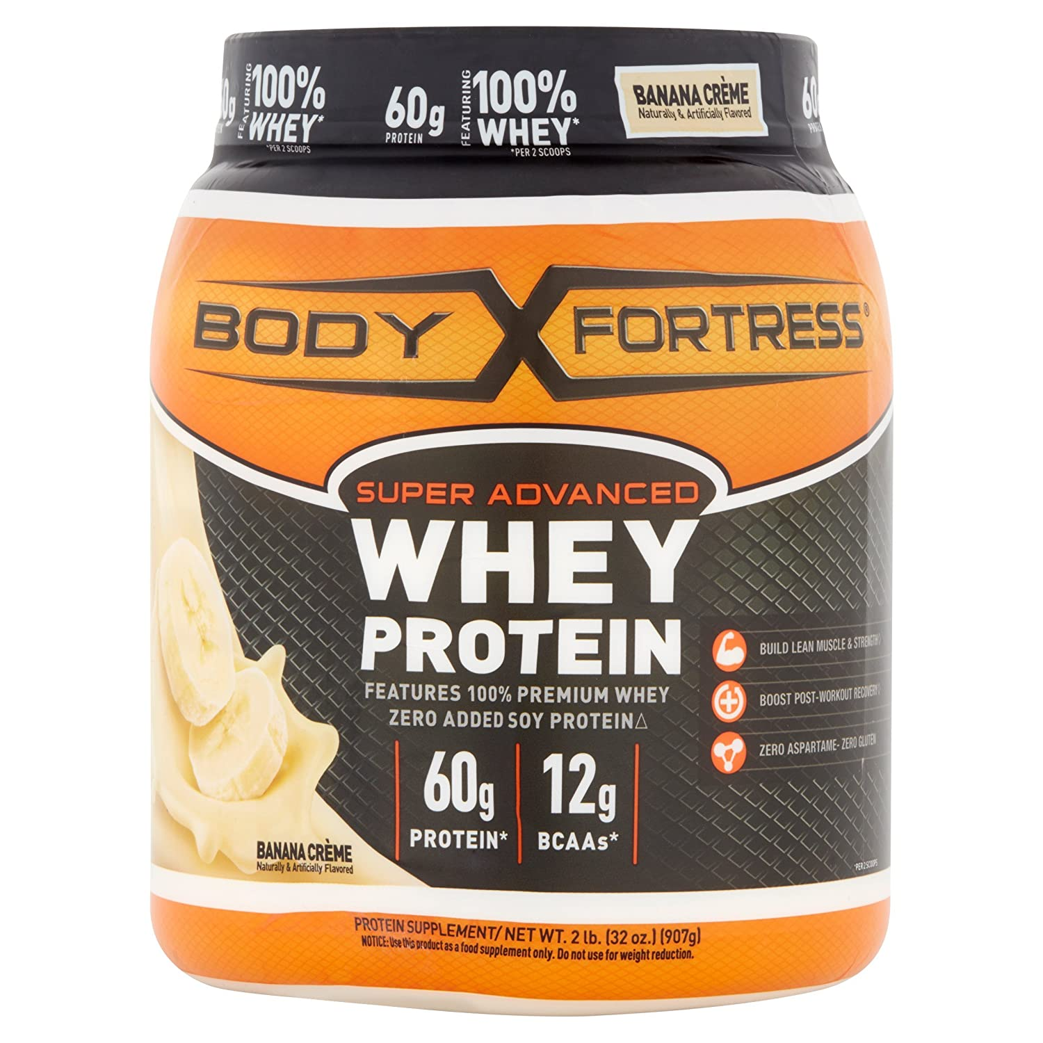 Body Fortress Super Advanced Whey Protein Powder, Banana Crème, 2 Pounds