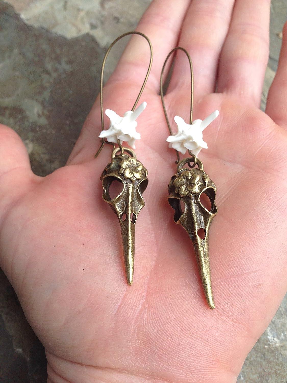 Animal bone earrings antique copper earrings taxidermy jewelry geometric jewelry real bone earrings oddity jewelry triangle earrings