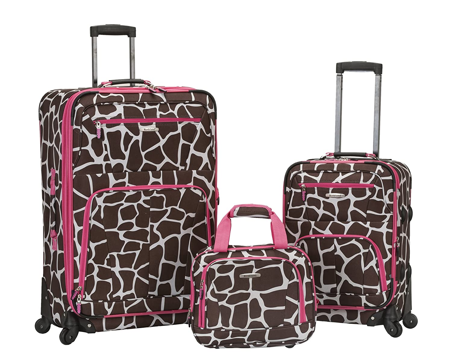 Rockland Expandable Spinner 14 Tote, Pink Zebra, 19-Inch/28-Inch Fox Luggage F228-PINKZEBRA