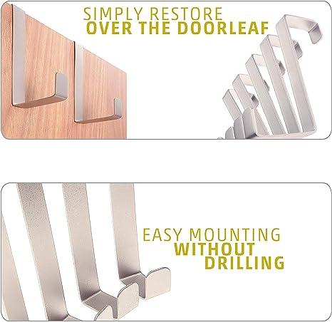 Sobre los ganchos de la puerta 10 piezas - Hecho en Alemania - Perchas y ganchos de las puertas – Acero inoxidable: Amazon.es: Bricolaje y herramientas