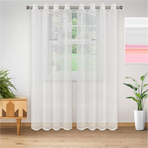 Superior Quality Lightweight Embroidered Delicate Flower Sheer Stainless Grommets Window Treatment Curtain Panel Set of 2 52 x 108 – White