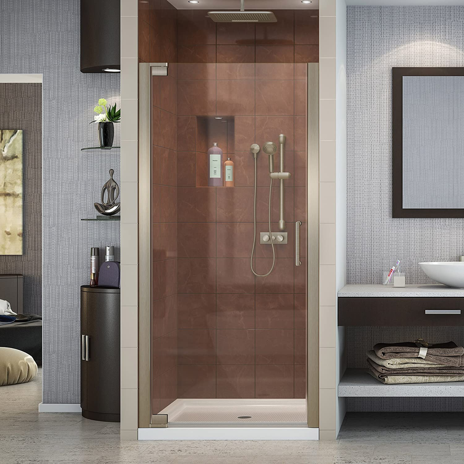 DreamLine Elegance 30 1 2 – 32 1 2 in. W x 72 in. H Frameless Pivot Shower Door in Brushed Nickel, SHDR-4130720-04