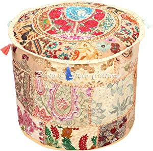 Stylo Culture Indian Floor Pouf Cover Round Patchwork Embroidered Pouffe Ottoman Beige Cotton Floral Traditional Furniture Footstool Seat Puff (18x18x13) Bean Bag Living Room Decor