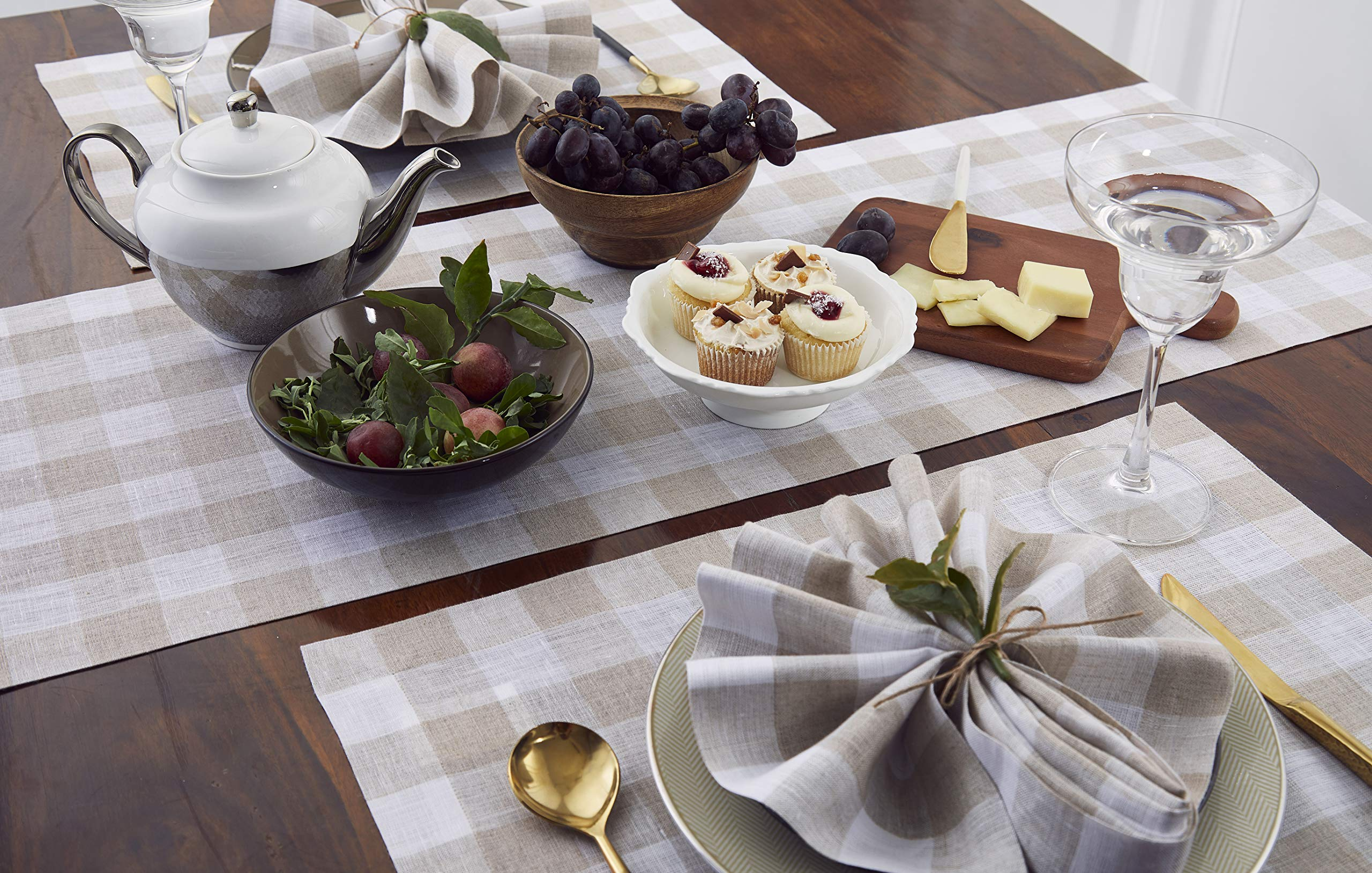 Solino Home 100% Pure Linen Checks Table Runner - Natural & White Check Table Runner - 14 x 72 Inch Runner for Dinner, Indoor and Outdoor Use by Solino Home (Image #3)