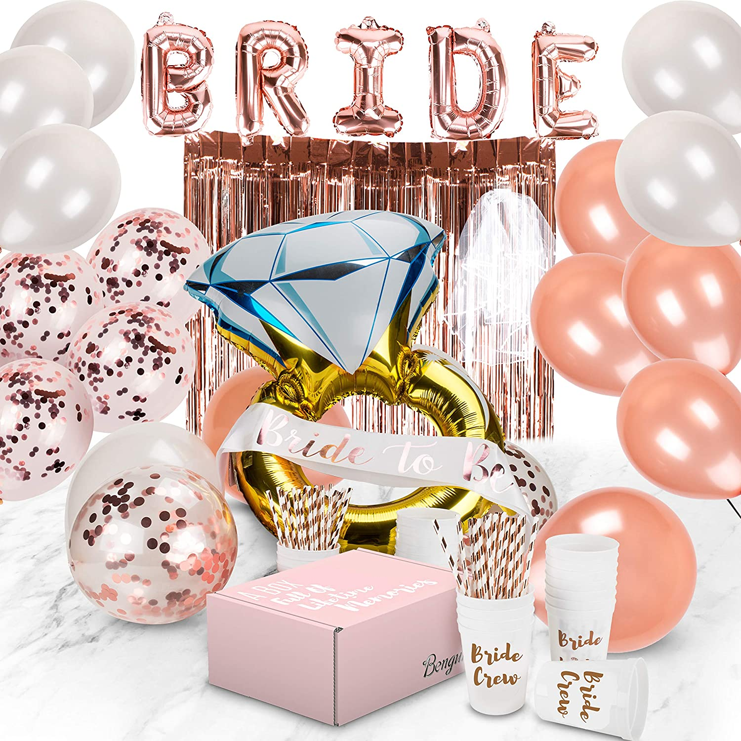 Bachelorette Party Decorations | Bridal Shower Supplies Kit - Bride To Be Sash, Cups, Straws, Veil, Banner, Balloons, Rose Gold Curtains & Decor Accessories