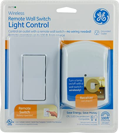 Light Remote Switch: Amazon.com: GE Wall-Switch Light Control Remote with 1 Outlet Receiver,  Wireless, White, 18279: Camera & Photo,Lighting