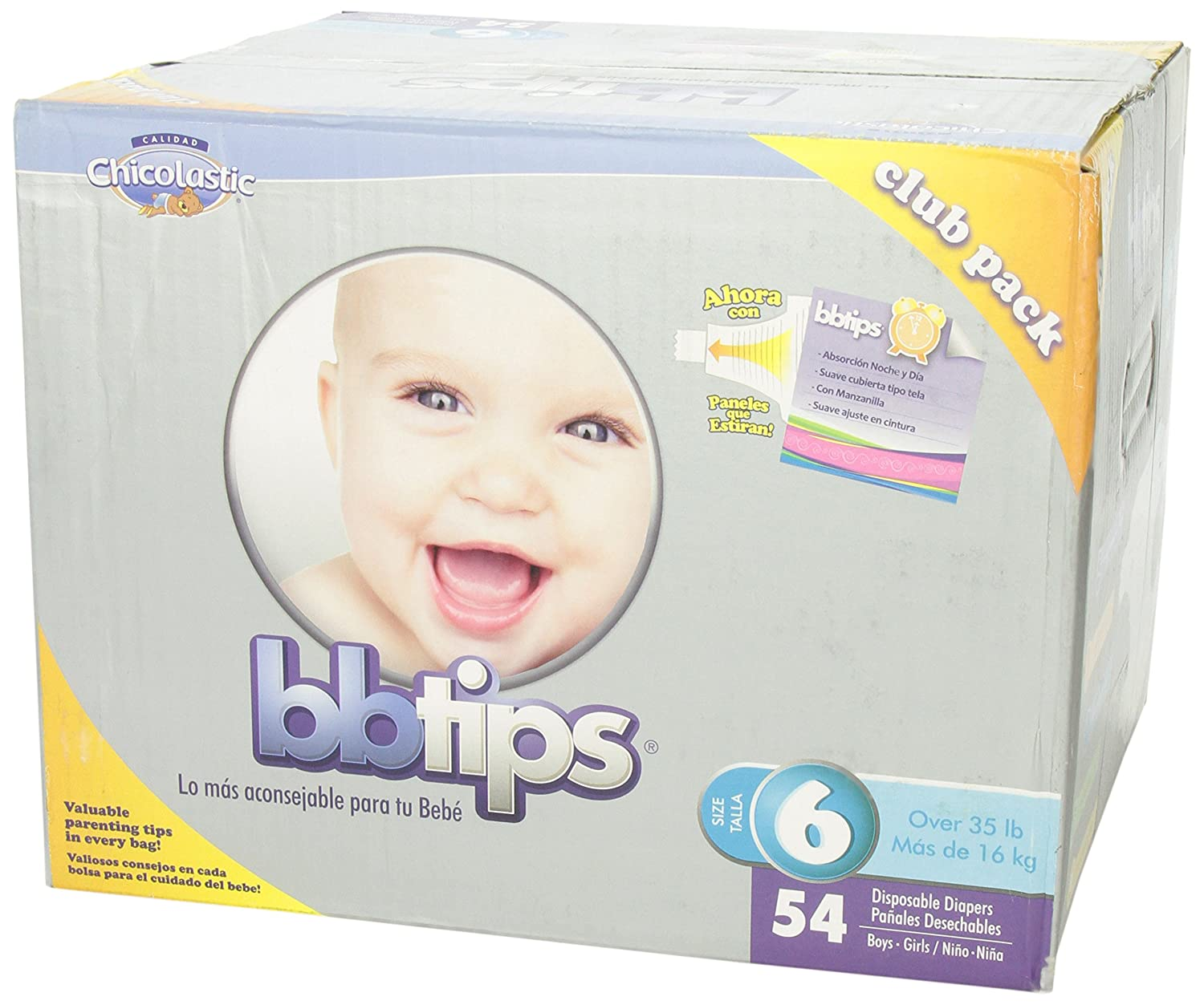 Amazon.com: Chicolastic Bbtips Infant Disposable Ultra Diapers, XX-Large, Size 6, 54 Count: Health & Personal Care