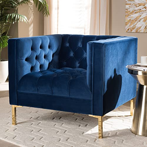 Reviewed: Baxton Studio Zanetta Luxe and Glamour Navy Velvet Upholstered Gold Finished Lounge Chair