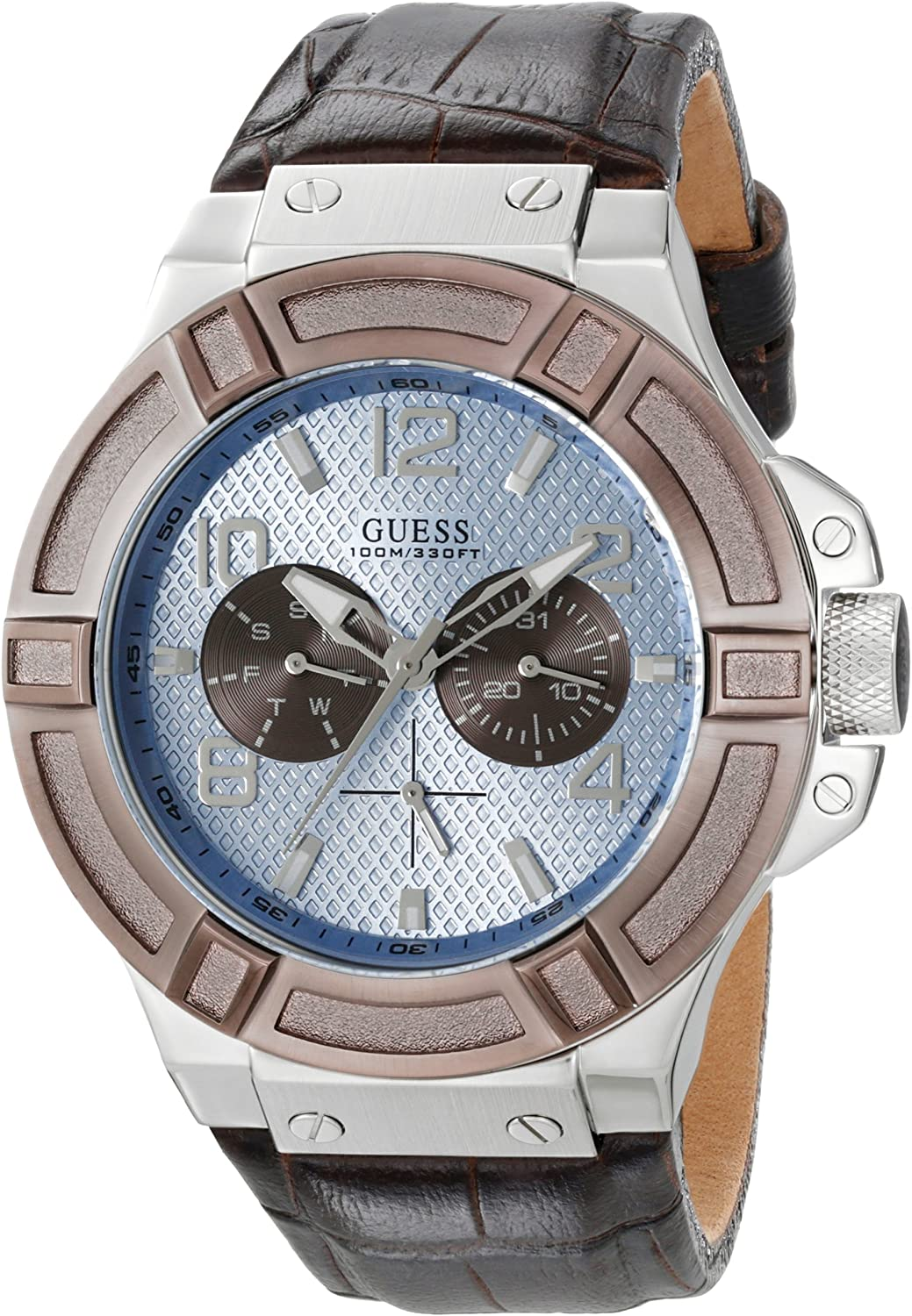 GUESS Men s U0040G10 Rigor Multi-Function Watch with Brown Band