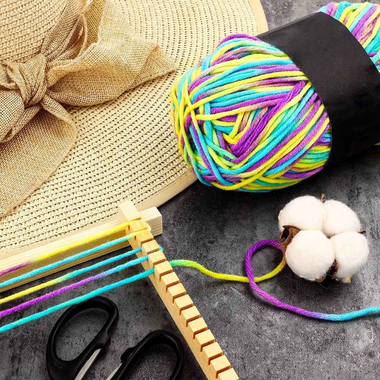 2 Rolls 765 Yards Craft Loom Yarns Mixed Color Loom Loops Refill Colorful Loom Weaving Knitting Yarns for DIY Crafts Supplies