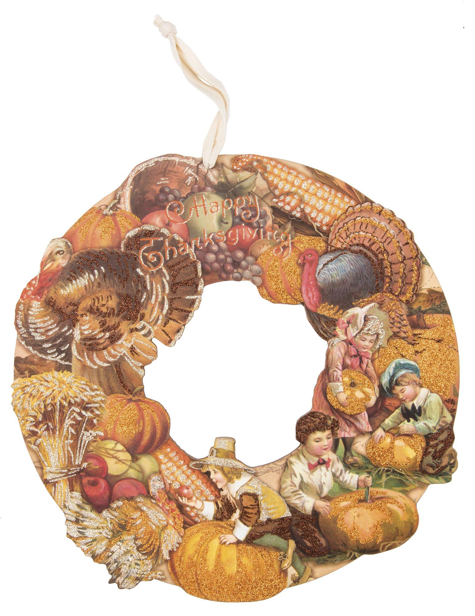 ''Happy Thanksgiving'' Vintage Wood Wreath