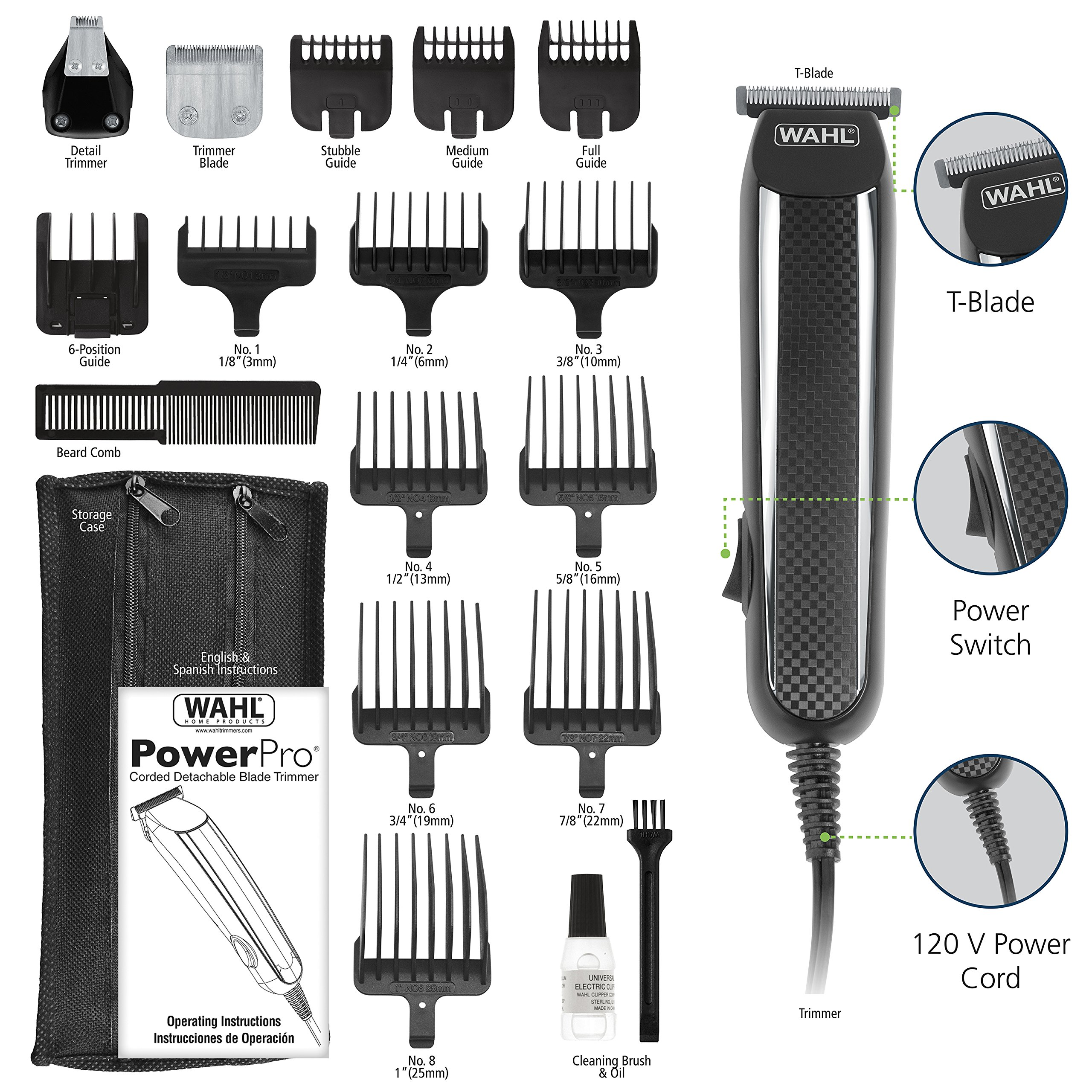 Wahl Clipper PowerPro Corded Beard Trimmers, Hair Clippers and Haircut Trimmers, men's grooming kits for Beard, Mustache, Stubble, Ear, Nose, Body Grooming, by the Brand used by Professionals # 9686 by Wahl (Image #5)