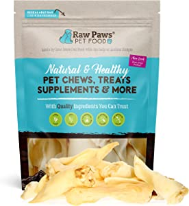 Raw Paws Large Lamb Ears for Dogs, 15 Pack - Packed in USA - All Natural Lamb Rawhide Alternative - Real, Grain Free, Single Ingredient Lambs Ear Chews for Dogs - Crunchy Sheep Lamb Ears Dog Treats