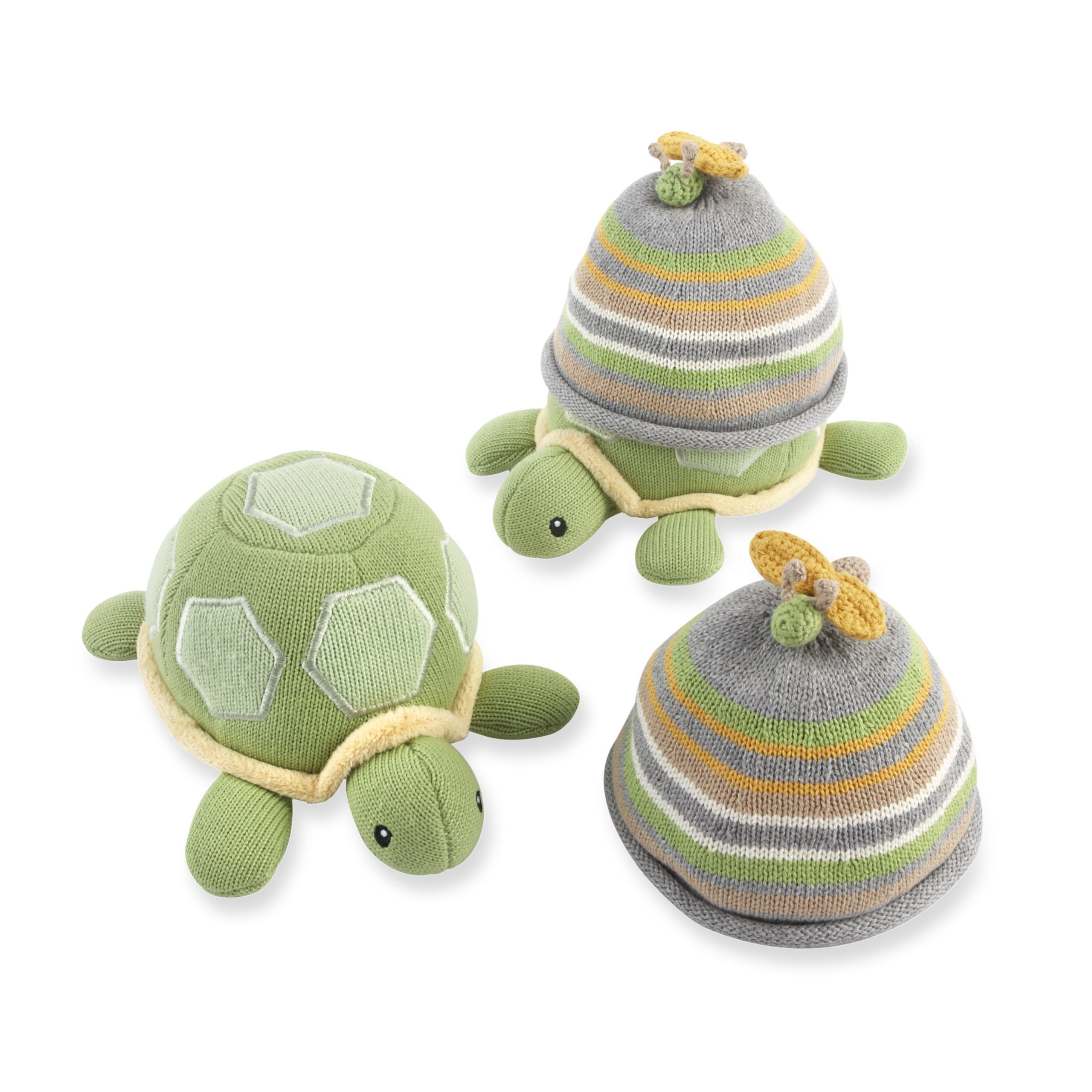Baby Aspen Turtle Toppers Baby Hat and Turtle Plush Gift Set, Yellow by Baby Aspen (Image #1)
