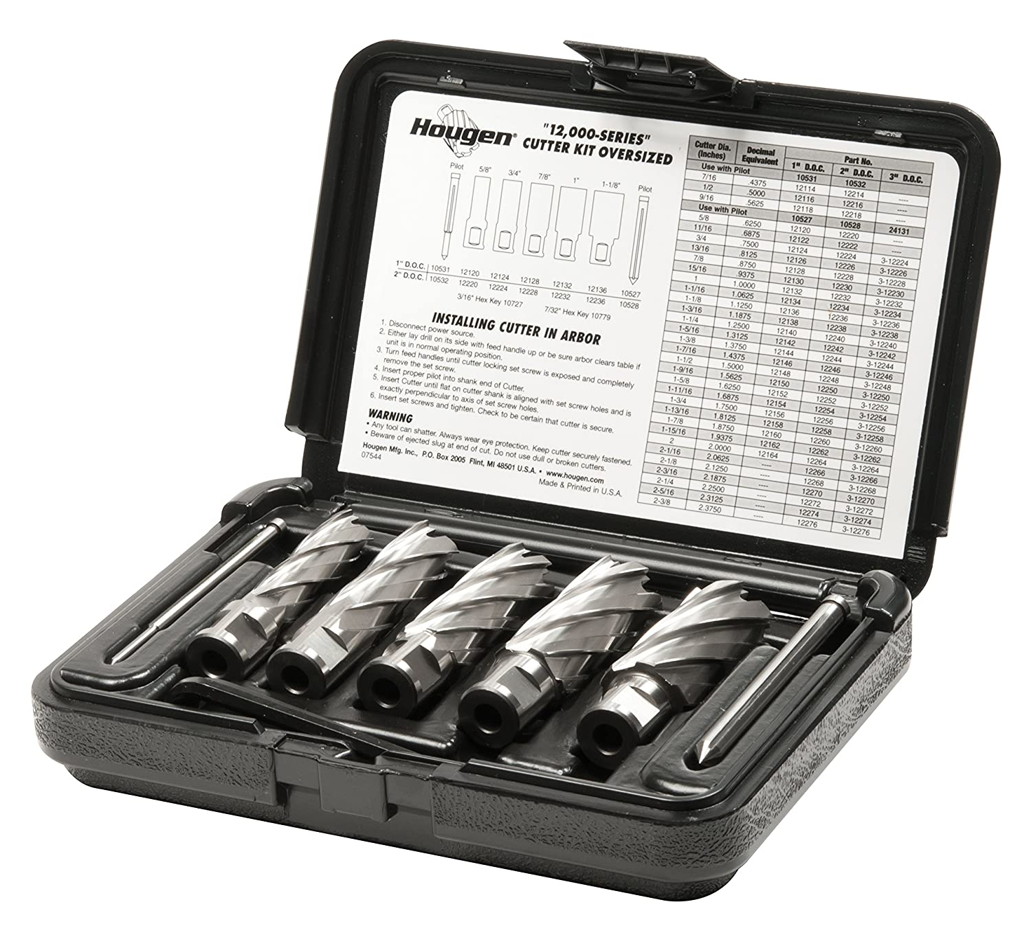 3//4 1-1//8 Rotabroach Cutters in a plastic case Includes Hex Wrenches and 2 pilots 2 Depth of Cut 7//8 Hougen 12006 5//8 1