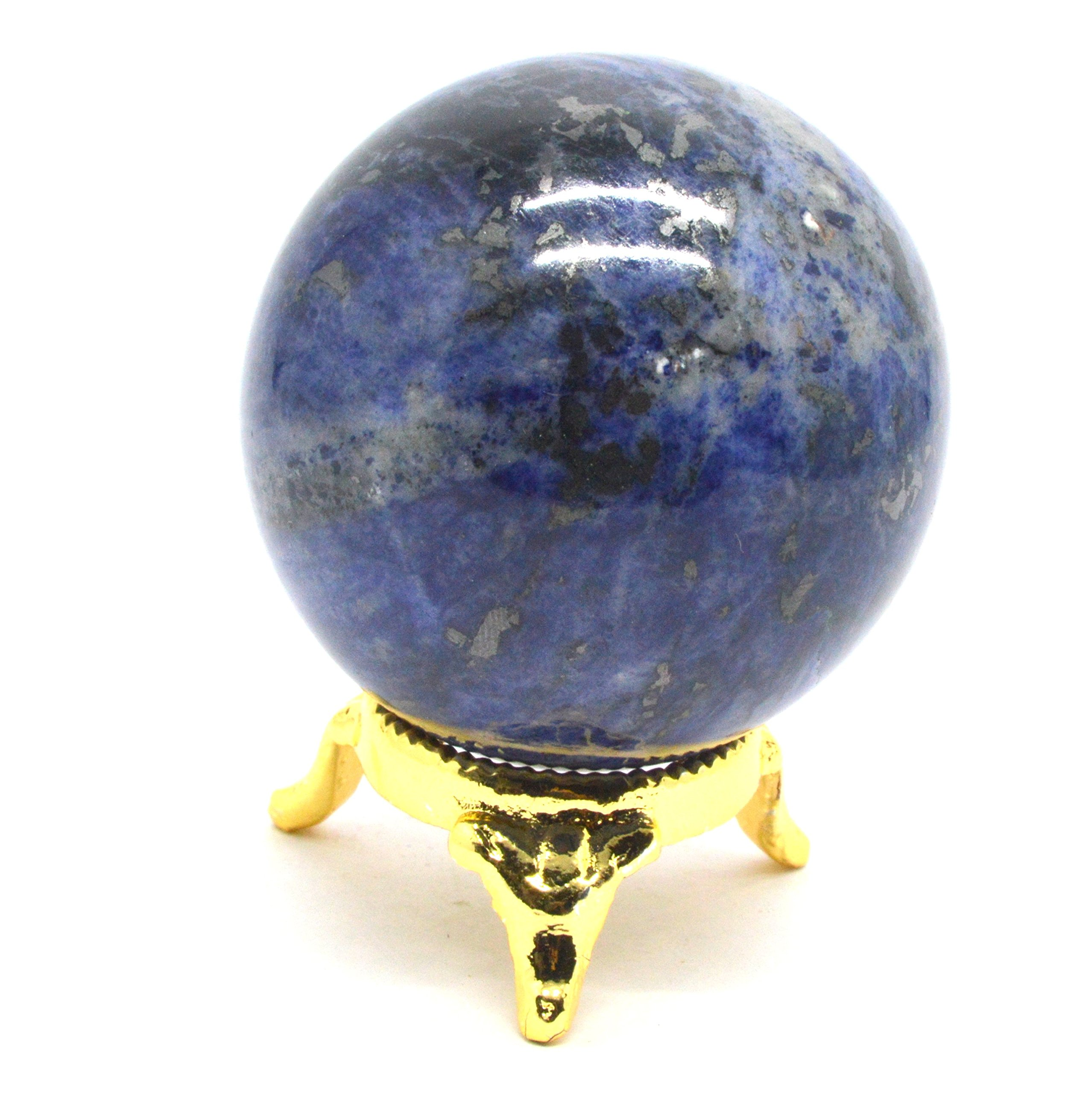 Healing Crystals India: 2'' Sodalite Crystal Sphere Rare Reiki Deep Blue Natural Quartz Polished Ball Metaphysical Healing Mineral Balance Third Eye Chakra