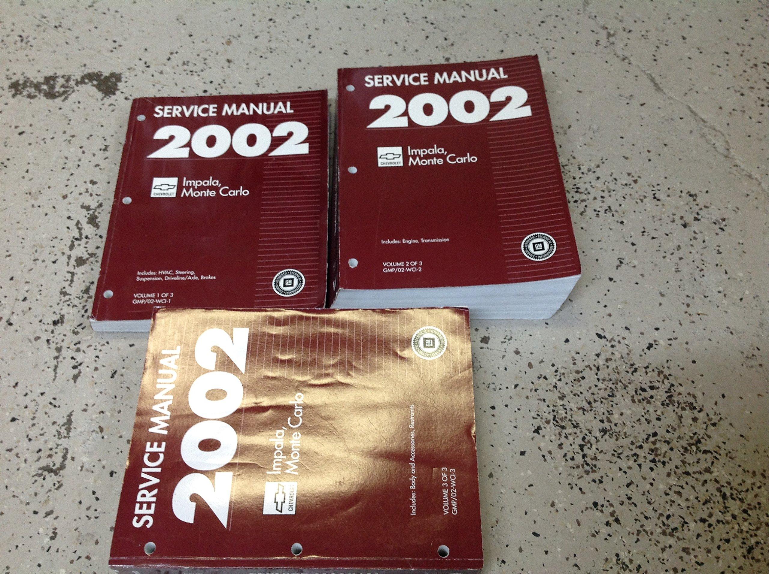 2002 chevy chevrolet impala monte carlo service manual 3 volume set rh amazon com User Manual PDF 2002 chevy impala service manual