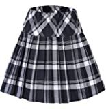 Urban GoCo Donna Versatile Plaid Pieghe Mini Gonna da Plissettata Vita Elastica Scozzese Gonna