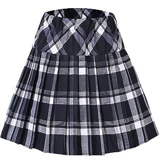 Urban GoCo Mujeres Falda Escocesa Plisada con Cintura Elástica Escuela  Uniforme Falda Cuadros 748c5f2df54d