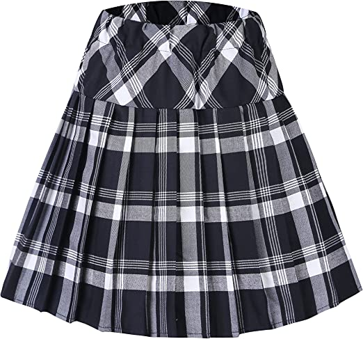 Urban GoCo Mujeres Falda Escocesa Plisada con Cintura Elástica ...