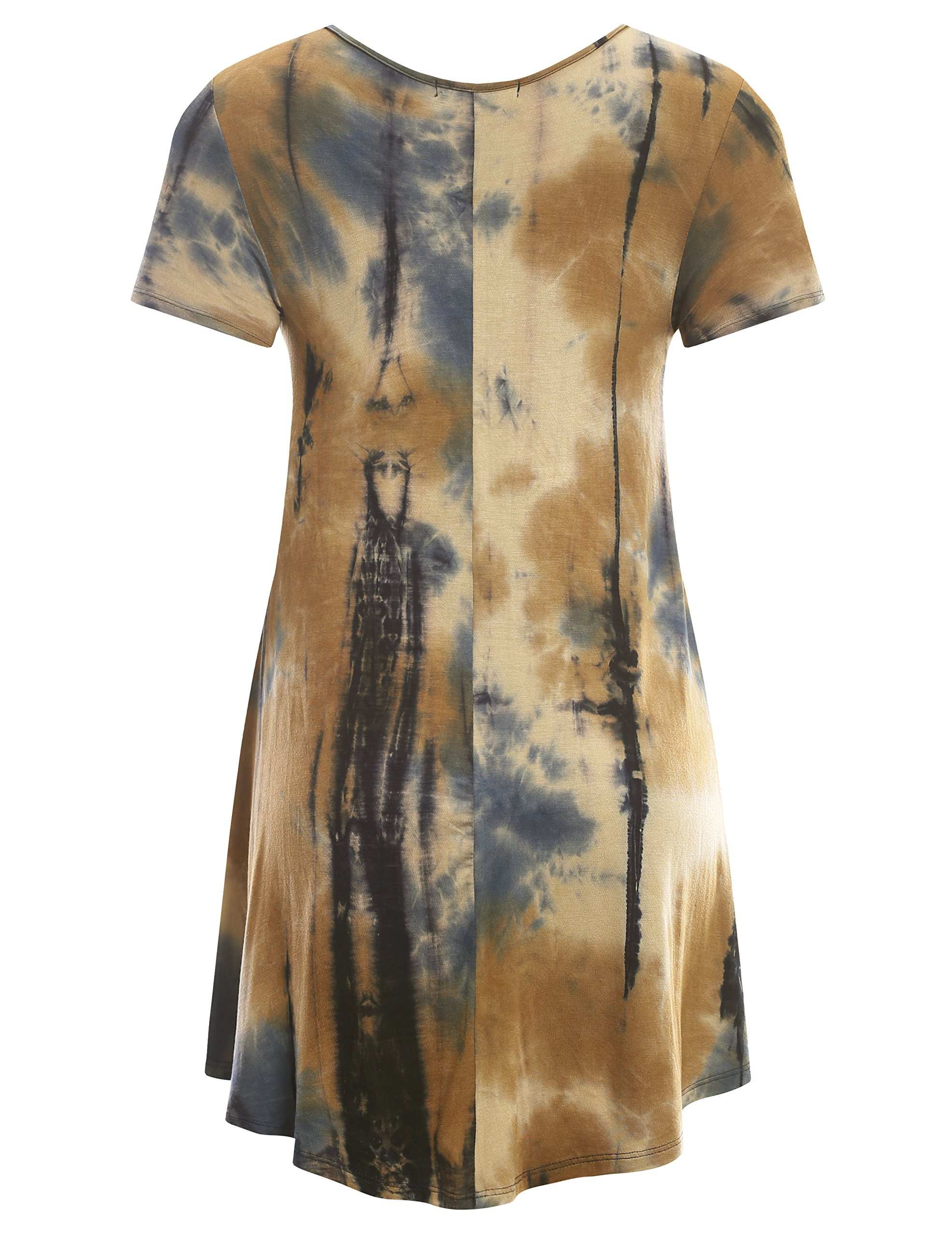 All for You Women's Short Sleeve V-Neck Flare Hem Floral Print Tunic Tie-Dye Taupe 2 X-Large by A.F.Y (Image #3)