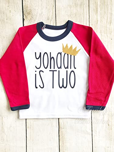 1st 2nd Personalised Boys Birthday Baseball Shirt Tee Name First Second Crown Red Navy Photoshoot