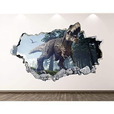 "West Mountain Dinosaur Wall Decal Art Decor 3D Smashed Wild T-Rex Sticker Poster Kids Room Mural Custom Gift BL176 (50"" W x 30"" H): Home & Kitchen"