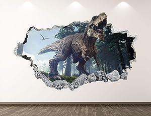 "West Mountain Dinosaur Wall Decal Art Decor 3D Smashed Wild T-Rex Sticker Poster Kids Room Mural Custom Gift BL176 (22"" W x 14"" H)"