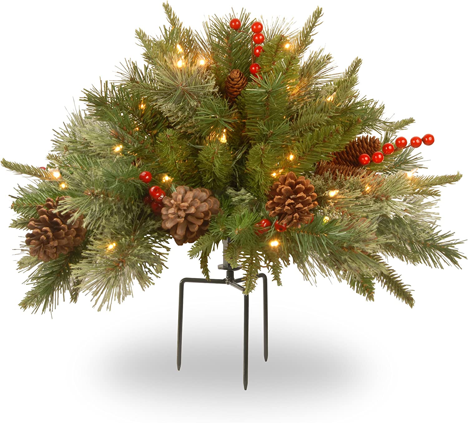National Tree Company 'Feel Real' Pre-lit Artificial Christmas Urn Filler | Flocked with Mixed Decorations and Pre-strung LED Lights with Stand | Colonial - 18 Inch