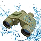 Twod 10X50 Waterproof Binoculars with Rangefinder & Illuminated Compass, Pouch for Outdoors, Hunting, Hiking and Trekking