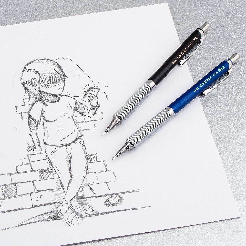 Pentel Arts Orenz Deluxe 1-Click Drafting Pencil, Black Barrel Fine line PP1005GABP 0.5mm