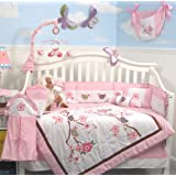 SoHo Love Birds Story Baby Crib Nursery Bedding Set 13 pcs included Diaper Bag with Changing Pad & Bottle Case