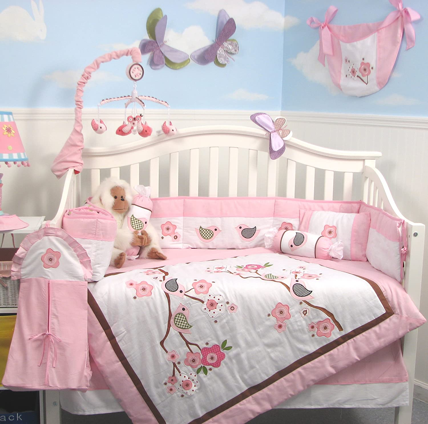 beddings full elizabeth nursery bed crib of s also under as grey bedding well size collection with baby girl chevron unique gray light cheap and kohl plus pink kohls hot sets