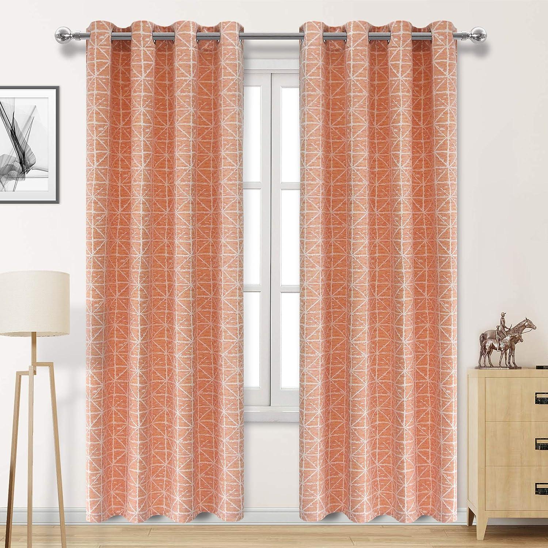 DWCN Orange Jacquard Curtains Faux Linen Room Darkening Window Curtain  Drapes 52 x 84 inches Long, 1 Lattice Pattern Living Room Curtain