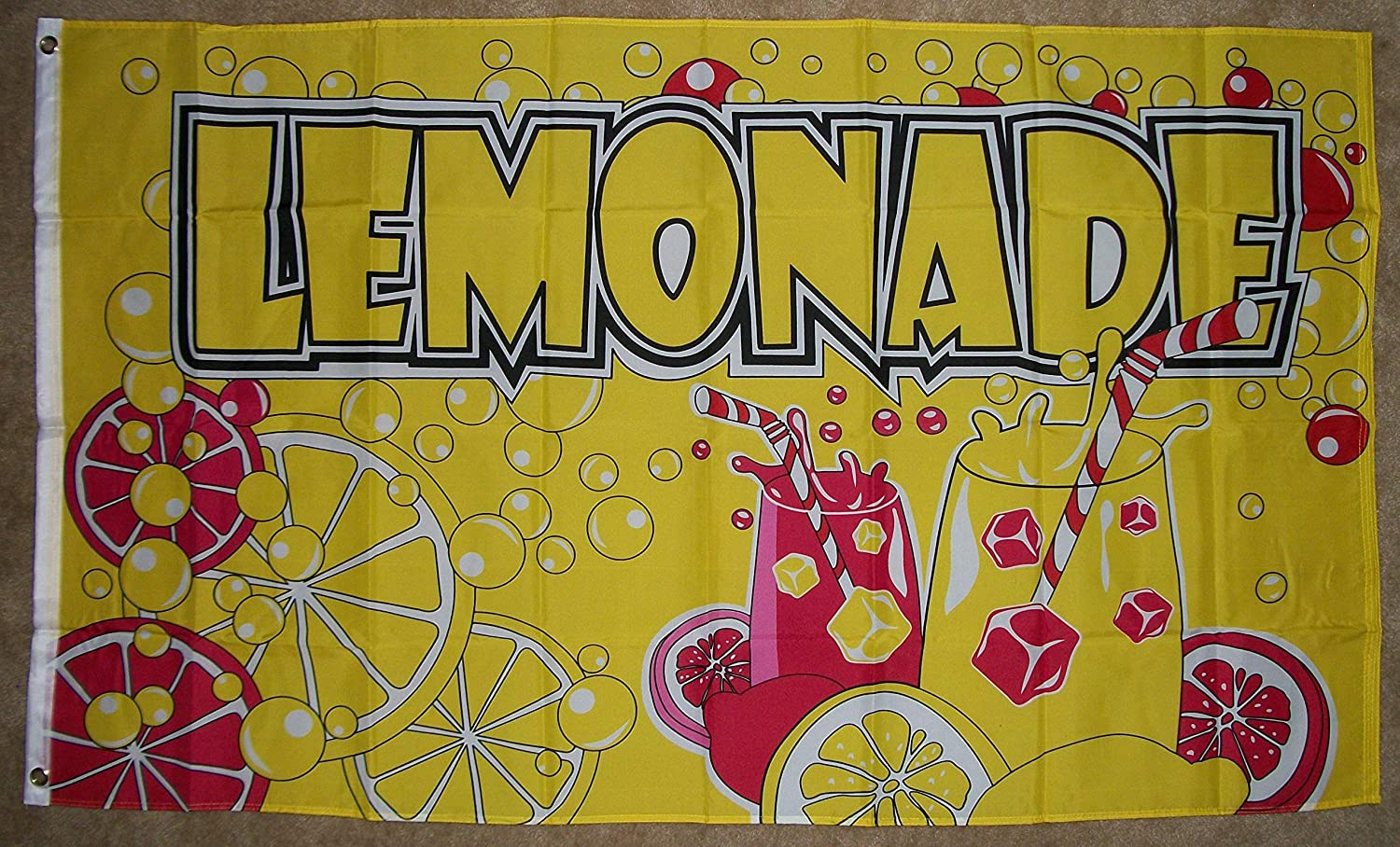 Home and Holiday Flags Lemonade Flag Business Concession Stand Sign 3 x 5 Foot Banner Lemon Food Tent