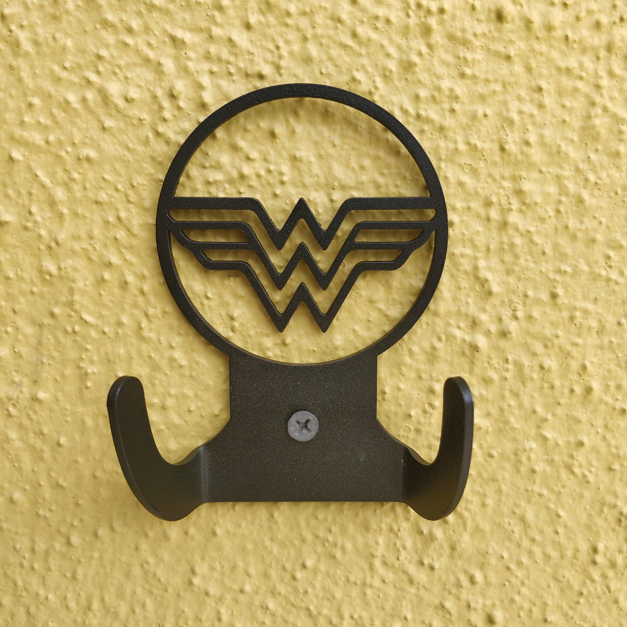 HeavenlyKraft Wonder Woman Logo Steel Wall Hook Dual Holder for Living Room Coat Hat Robe Hanger Bathroom Towel Kitchen Strong Heavy Duty Garage Storage Organizer Utensil Hook Single