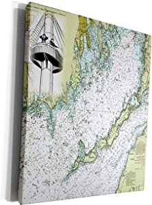 3dRose Florene - Nautical Map Décor - Print of Buzzards Bay Massachusetts With Crows Nest - Museum Grade Canvas Wrap (cw_204858_1)