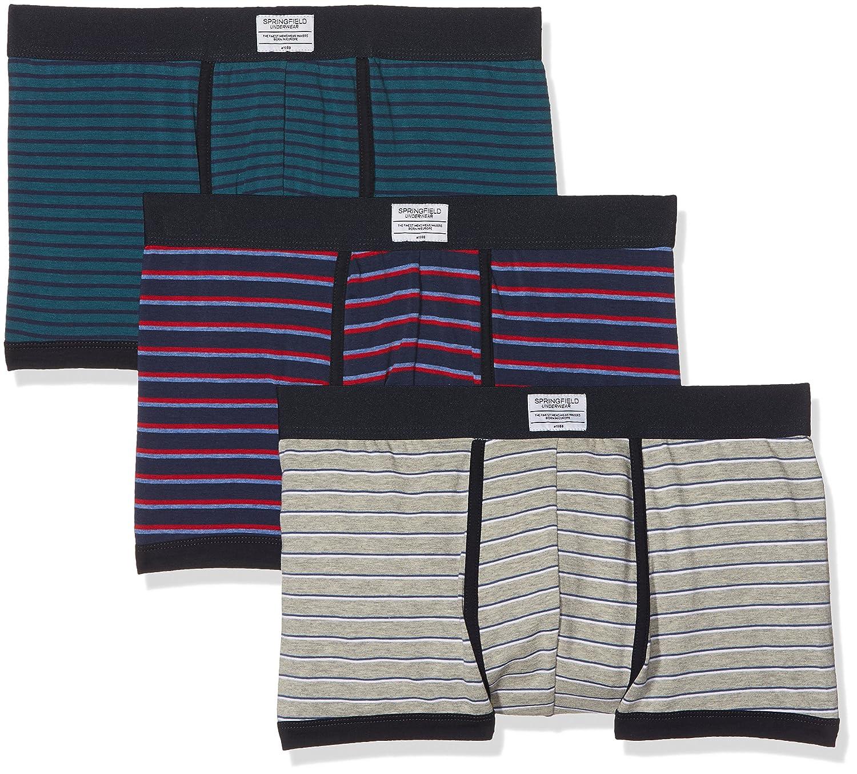 Springfield Pack 3 Boxers Básicos Rayas, Boxer para Hombre, (Gama Azules), Large (Tamaño del Fabricante:L): Amazon.es: Ropa y accesorios